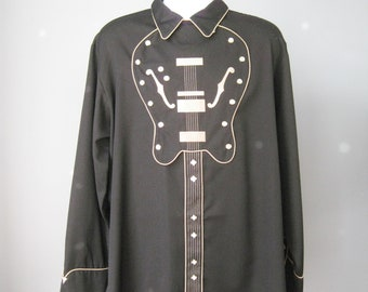Embroidered Western Shirt / Vtg 80s / Mens Rockabilly Large Scully Black Guitar Front Embroidered Western Shirt