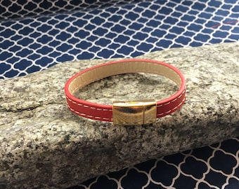 Red stitched leather bracelet