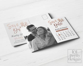 Photo save the date calendar printable save the date design rose gold foil postcard save the date rose golden save the date card calendar