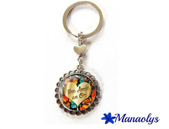 Key ring or bag charm friend gold 99 glass cabochons