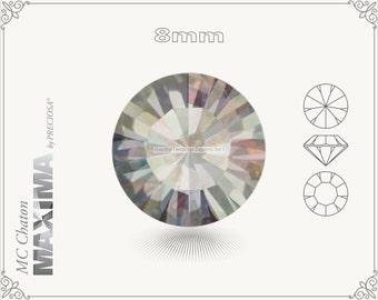 6 pc.+ SS39 (8mm) Preciosa MC Chaton MAXIMA - Black Diamond AB Color