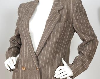 Valentino Miss V 1980s Vintage Women's Brown Pinstriped Blazer Sz M