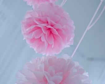 30 small tissue paper PomPoms set  -  CUSTOM COLOR - very fluffy - wedding party decorations - pom poms