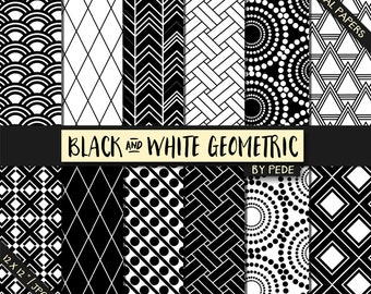 Geometric black and white digital paper pack, aztec, wicker paper, triangle, japanese pattern, printable, download