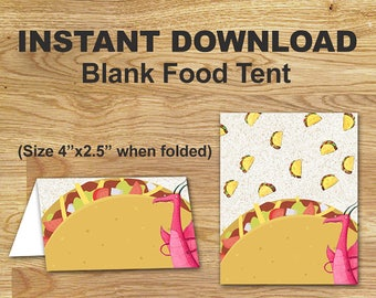 Dragons Love Tacos Food Tent Labels // Blank Food Tent Cards// DIGITAL FILE Only