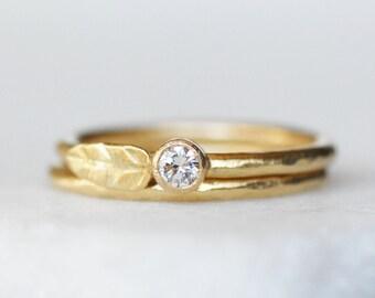 Diamond Leaf Ring - 3.4mm Diamond Gold WeddingBand - Choose 14k OR 18k Gold - Eco-Friendly Recycled Gold