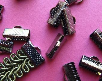 20pcs. 13mm or 1/2 inch Gunmetal or Black Chrome Ribbon Clamp End Crimps