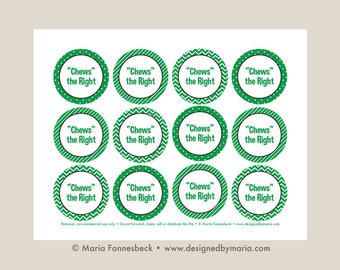 Chews the Right CTR Favor Tag Printable: LDS Primary or LDS Baptism 2.25 inch circle tags -- Decoration for Goodie Bags or Bubble Gum