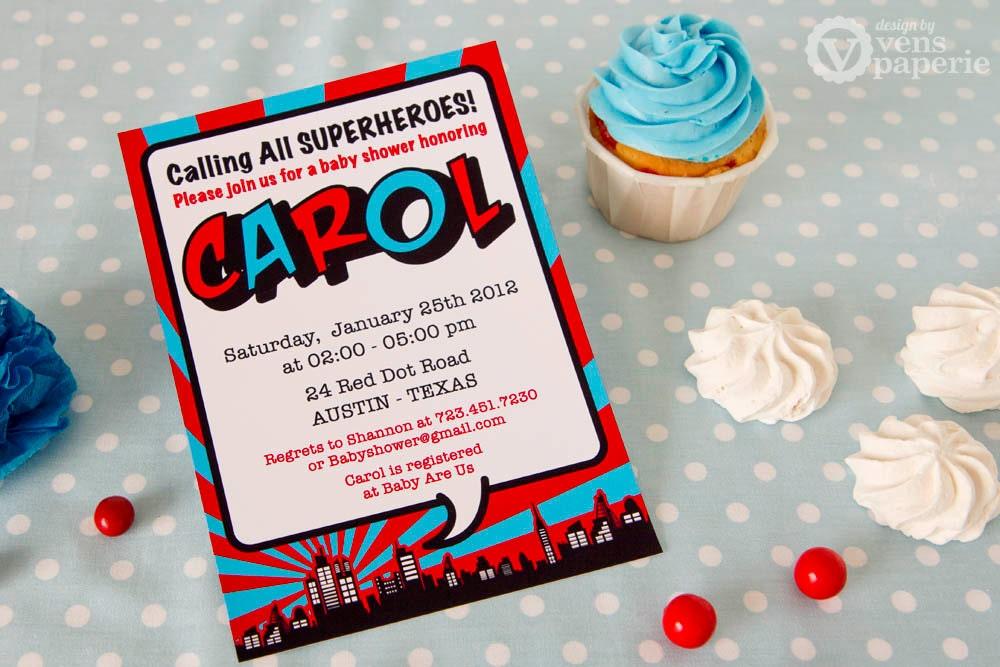 DIY PRINTABLE Invitation Card Red Superhero Baby Shower