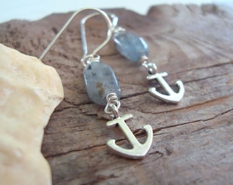 Tiny Silver Anchor Earrings With Blue Kyanite Nautical Jewelry Charms Silver Earrings Beach Weddings Bridesmaid Jewelry Gifts Under 30