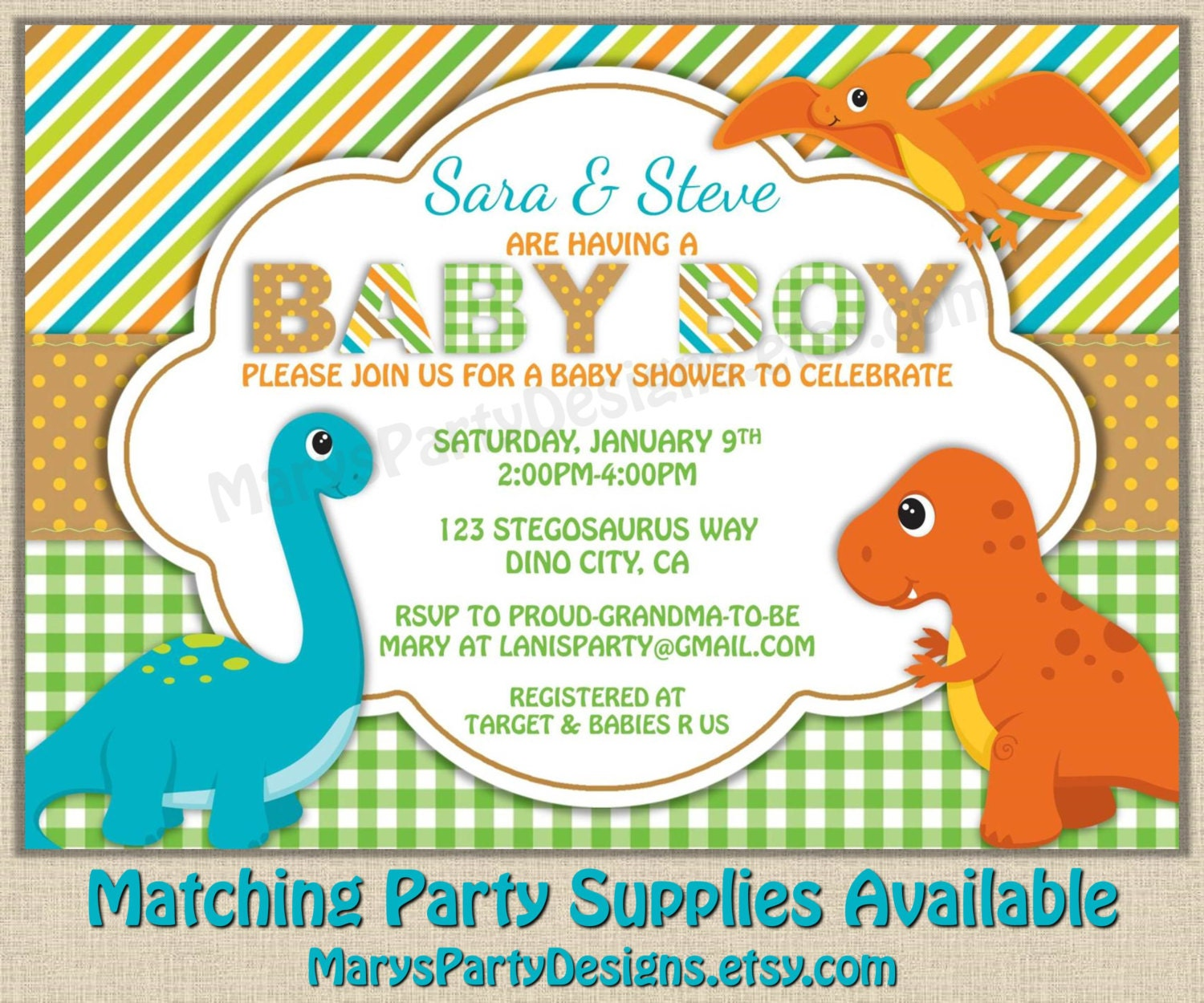 Dinosaur Baby Shower Invitation Dino Boy Diaper Party