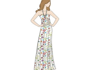 Halter Neck Maxi Dress Sewing Pattern - Sizes 8-22 UK - Download PDF