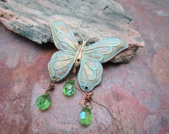 Patina Butterfly with Crystal Drops Pendant