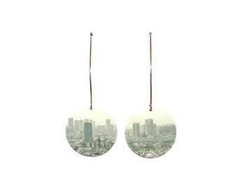 Earrings made of recycled cardboard city