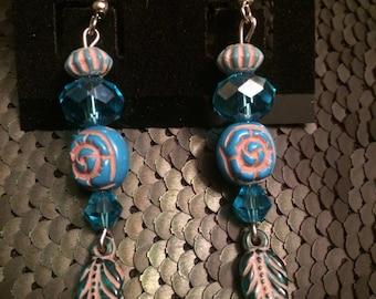 Turquoise Leaves Beaded Earrings