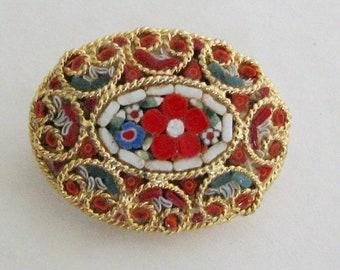 Vintage Micro Mosaic Brooch Red Flowers Pin Millefiori