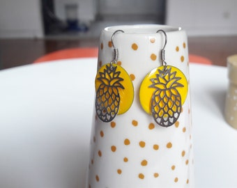 Pineapple and yellow sequin earrings