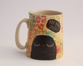 No Bad Juju Mug - rainbow -  Handmade stoneware pottery mug with illustration - gift for tea lover - gift for coffee lover - handmade mug