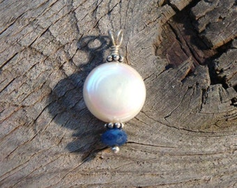 ARIEL - Sterling Silver, Coin Pearl & Genuine Faceted SAPPHIRE BRIDAL Pendant for your Necklace - Perfect Something Blue Handmade by Dorana