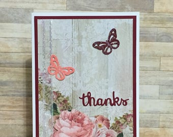 Handmade greeting card, thank you card, occasion card, red, pink, butterfly, flower