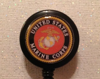 Marines Badge Reel - Marines Badge - Marines Id - Marines Id Holder - Marines Holder - Marines Retractable Badge - Marines - Marines Lanyard