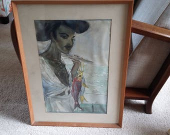 Large Fab Retro Original Watercolour Fisherman with Chest Hair Maritime Lothario.