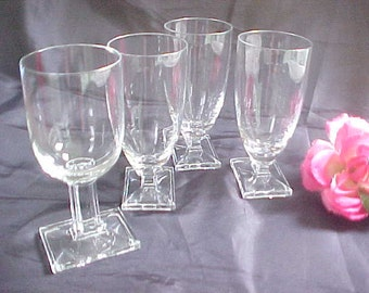 1930s Heisey New Era Stemware Lot of 4, 3 Juice Glasses & 1 Claret Crystal Stems, Art Deco Styling No. 4044  Vintage Barware Glasses