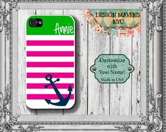 Preppy Anchor iPhone Case, Nautical iPhone Case, Personalized iPhone Case, iPhone 4, 4s, iPhone 5, 5s, iPhone 5c, iPhone 6, 6s, 6 Plus