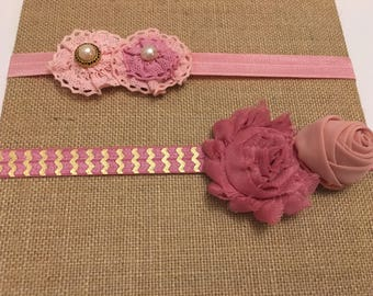 Vintage Inspired Pink and Mauve Flower Elastic Infant Headbands Set of 2, Pink and Mauve Floral Elastic Baby Headbands Set, Hair Accessories