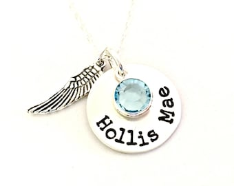 Angel Wing Name Necklace - Memorial Gift - Personalized Loss of Child Miscarriage Sympathy Gift - Mommy of an Angel - I Hold You in My Heart