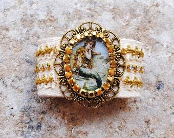 Mermaid Cotton Woven Friendship Bracelet Trim Crystal Embellished