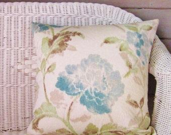 Floral Pillow Cover Aqua Seafoam Teal Decorative Throw Toss Accent Pillow 20x20 22x22 Sofa Couch Bed Zipper
