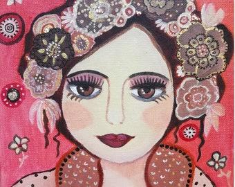 Davenka face-portrait - girl - flowers