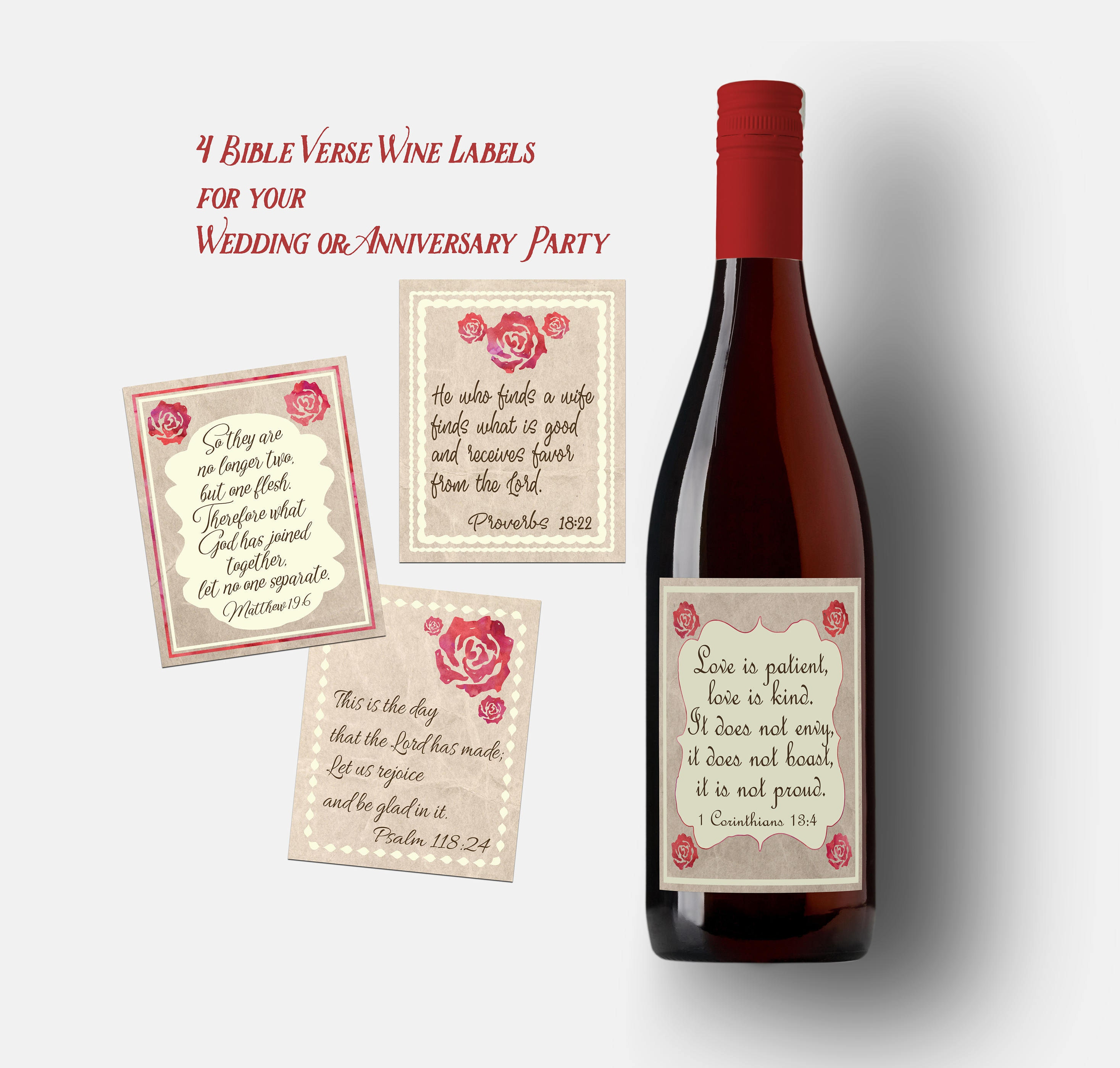 Wedding Wine Labels. Anniversary party wine labels. Bible