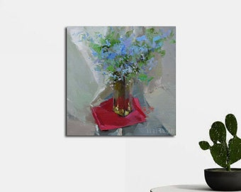 Blue painting Floral art canvas painting, Bouquet of Flowers, Oil painting modern, Still life painting