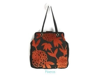 Handbag in vintage style - bag with snap closure - bag- Brown an orange Pochette Clutch purse