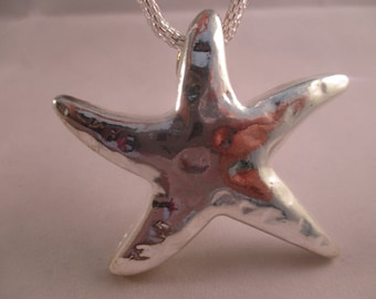 Silver-Plated Starfish Necklace Starfish Necklace Beach Silver Necklace