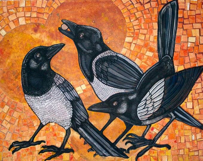 Three Magpies Animal Art Print by Lynnette Shelley