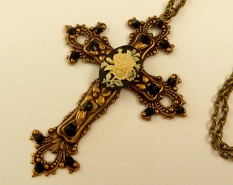 Large Cameo Cross Necklace with roses in black bronze antique jewelry