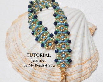 Beading Tutorial Pattern,Beading Instructions,Seed Bead Pattern,Bead Schemi,Bracelet Tutorial,SuperDuo Beads, Jewelry Pattern, MyBeads4You