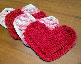 Knitted Heart Shaped Washcloths - Set of Four