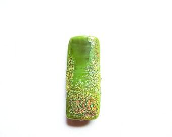 RAKU DUSTED GREENBEAN     green, raku frit, and metallic lustre kalera focal    A Beaded Gift