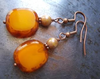 Pumpkin Earrings, copper dangle earrings, beaded earrings, orange pumpkin tangerine, organic, glass bead, rustic handmade copper jewelry