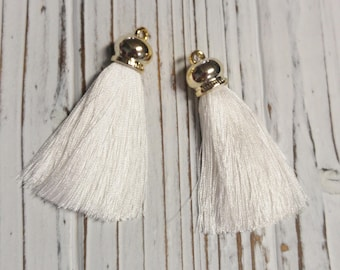 Ice Silk Tassel, White Tassel, DIY, Supplies, Overstock, Jewellery Supplies, 6.5 cm  - 2 Pcs
