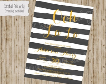 Lingerie Shower Invitation Ooh La La, Black, Gold, Watercolor, Glitter Modern Bridal Personal Shower Invitation DIY Digital or Printed