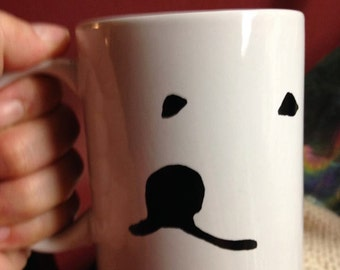 MUG Great Pyrenees Dog Face Black and White Coffee Cup Ceramic