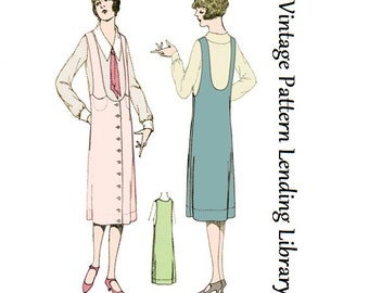 1925 Ladies Jumper With Strap Pockets - Reproduction Sewing Pattern #Z4090