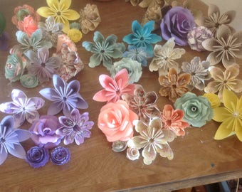 Origami Flowers 10 included for Celebrations, Home Decorations, Cake Toppers, Scrapbooking