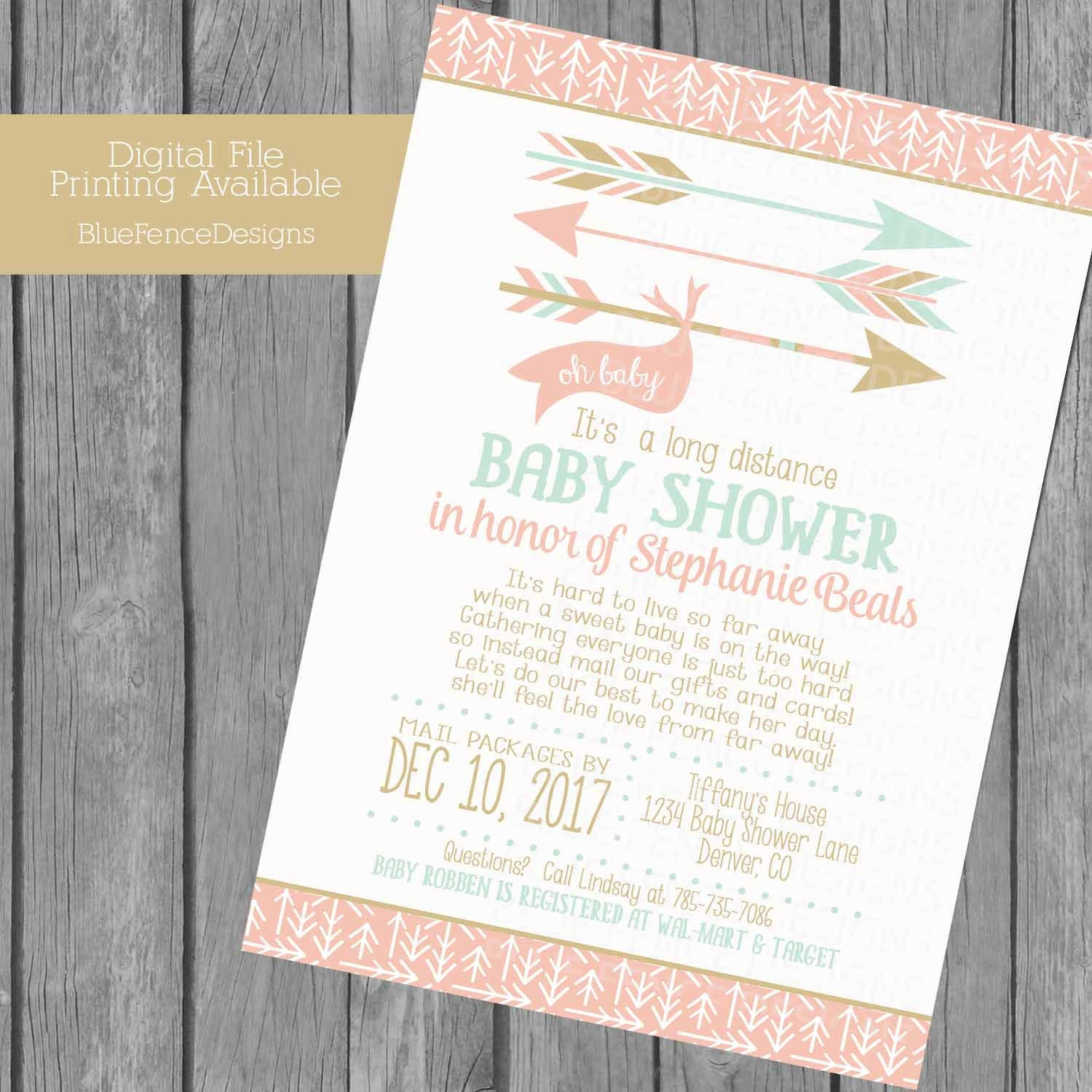 long distance girl baby shower invitation can change all