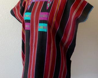 "Chiapas huipil blouse tunic handwoven stripe black marroon Highland Maya boho resort Mexican  26""W x 30""L"